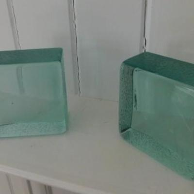 Solid Art Glass Book Ends 5