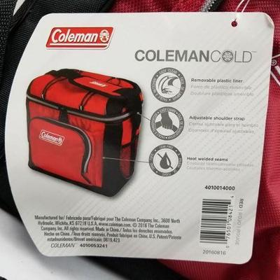 Coleman 16-Can Soft Cooler with Removable Liner, Red - New