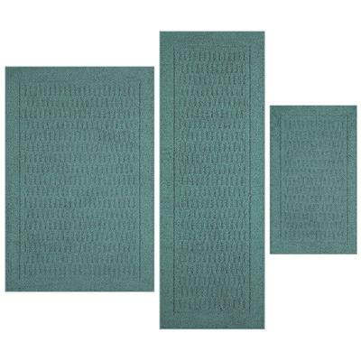 3 Piece Teal Rugs by Mainstays Dylan Solid Pattern Accent Rug Set - New