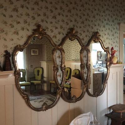Tri gold retro mirror