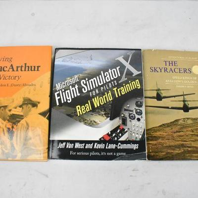 3 Books on Flying: Flying MacArthur -to- The Sky Racers