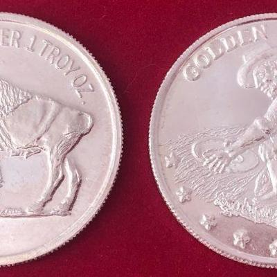 Lot#01 2-One Ounce Golden State Mint Silver Buffalo Coins .999 Pure