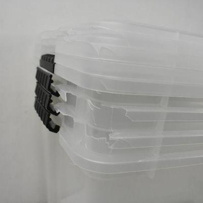 4 Pack of IRIS USA 54 Quart Clear Buckle Up Bins - Corners Dented, Useable