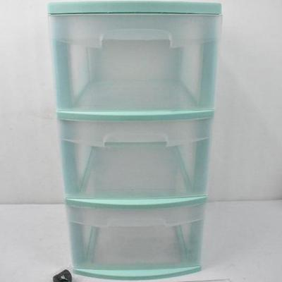 Sterilite, 3 Drawer Cart, Classic Mint with Casters - New
