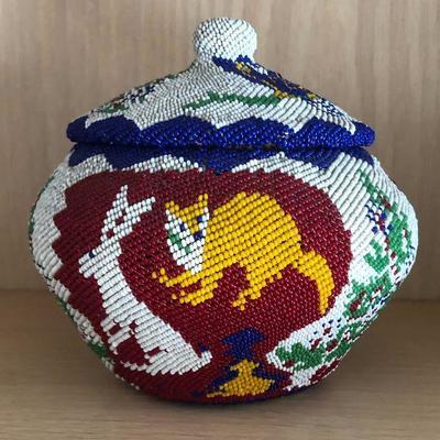 Beaded Washoe Paiute Basket C.1930