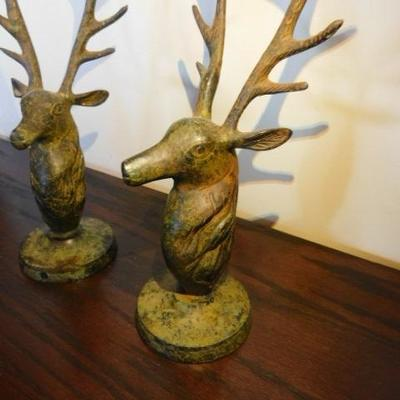 Pair of Brass Stag Head Candle Holders 13