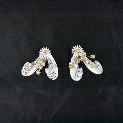 Vintage Clip On Earrings: Soft Plastic White Feather With Rhinestones, Germany
