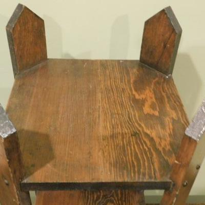 Solid Wood Oak Arts and Craft Style Side Table or Plant Stand 12