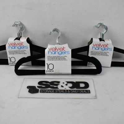 30 Black Velvet Hangers, 3 Packs of 10 - New