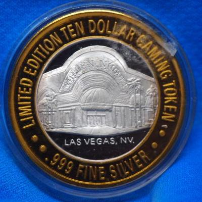 Golden Nugget Limited Edition Ten Dollar Gaming Token 1 OZ .9999 Fine silver      150