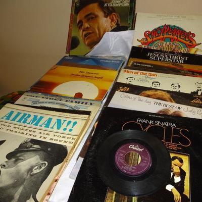 lot 2. 44 lp records. St peppers, Johnny Cash. Airman. plus one 45 Bob Seger