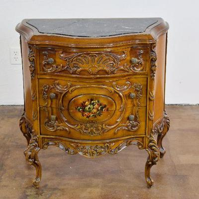 Stunning Carved Wooden Marble Top Chest with Floral Design