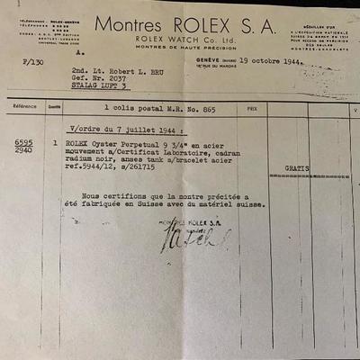 Stalag Luft III POW 1944 Rolex Oyster wristwatch and Camp Memorabilia