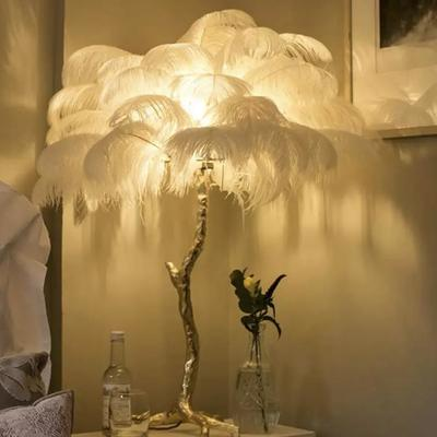Vintage Ostrich Feather Lamp