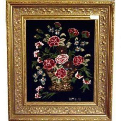 Framed Persian Rug; Authentic Hand-knotted Persian Rugs Wool & Silk fine quality