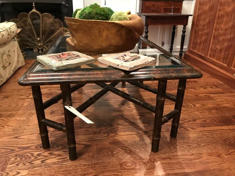Lacquered bamboo glass top coffee table $375