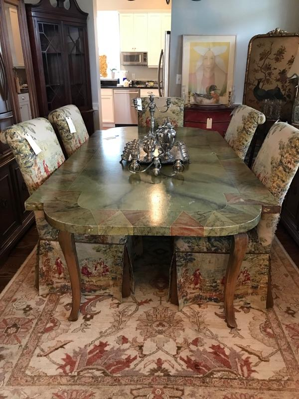 """Dining table Tromp L'oeil $550 30H X 7'4""""L X 46"""" W Upholstered chair $80 6 available, 6 for $400"""