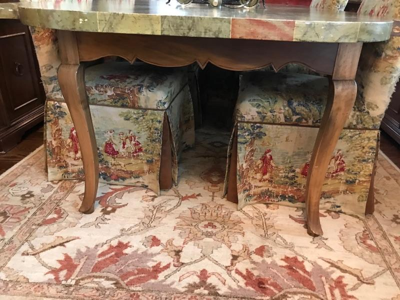 """Dining table Tromp L'oeil $550 30H X 7'4""""L X 46"""" W Upholstered chair $80 6 available, 6 for $400 Rug $300 7'9"""" X 6'"""