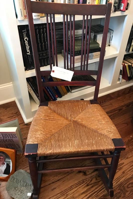 Antique rush seat rocking chair $250