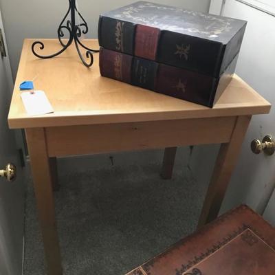 Contemporary maple square table $150