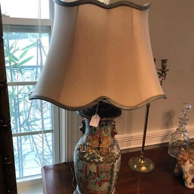 Chinese Famille Rose Baluster Vase circa 1880 turned into a lamp with silk shade $800 2 available