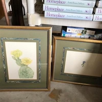 Framed watercolor floral blossom $75 Framed Watercolor cactus blossom $75