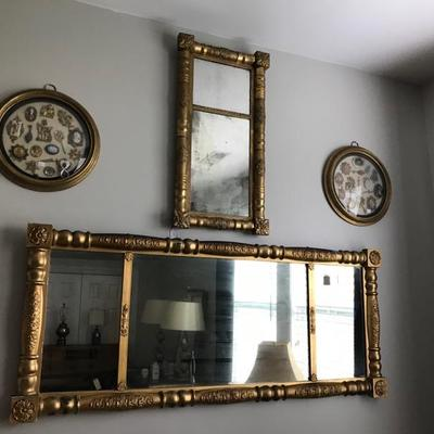 Top gold mirror: $125 SOLD Bottom gold mirror $195 Assemblage of jays, cameos and medallions in round eglomise frame $90 SOLD 2 available