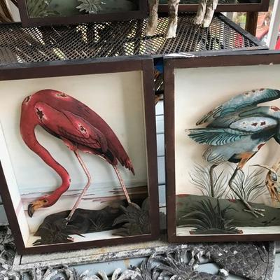 Four Made in Philippines Relief Painted Metal Shore Bird Scenes $50