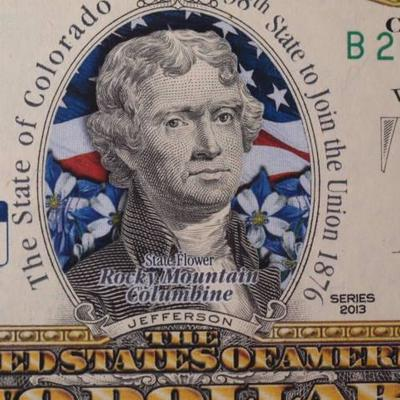 Colorized Series 2013 Colorado $2 dollar Federal Reserve Note  1141