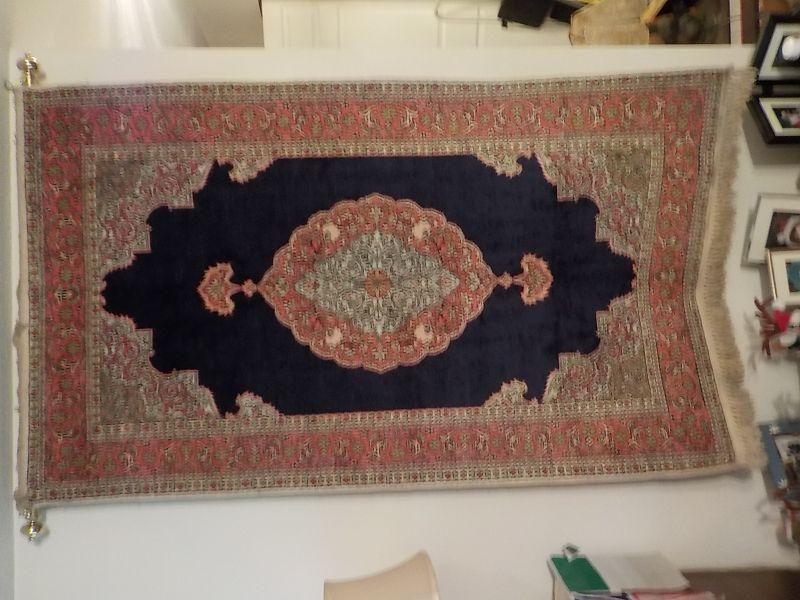Stunning imported for India rug 3 x 6, made of silk and cotton with blue red combination colors, approx. 16 y.o. never on floor.