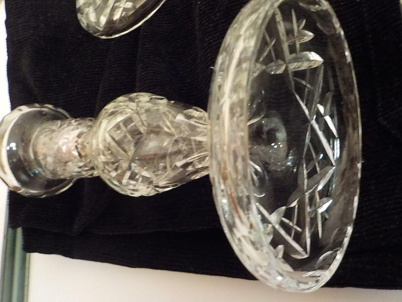 """Eye opening waterford crystal candle holders, A lisemore design, no chips and perfect shape. They are 10 """" in height and have waterford markings. 4 candle holders."""