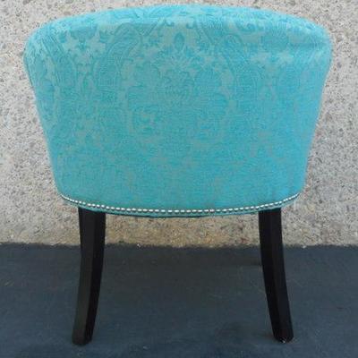 Lot 700 - Blue Brocade Low Back Chair w/ Nailhead Trim