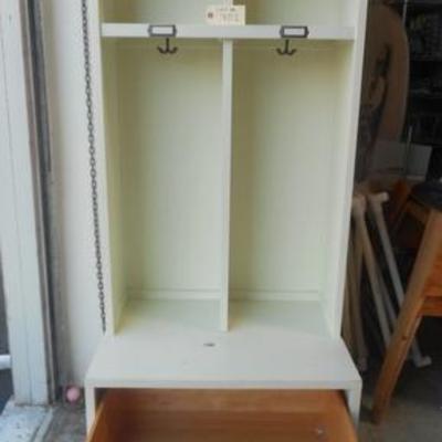 Lot 701 - White Wooden Cabinet w/ Deep Bottom Drawer & Hooks