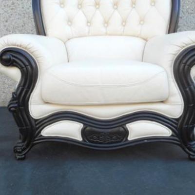 Lot 702 - Gorgeous White Leather Armchair
