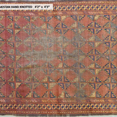 Antique Persian/  Pakistan/ Baluch Design  Hand knotted 4'2