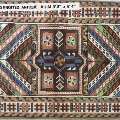 Persian Hand knotted Antique Shiraz Kilim 3'8