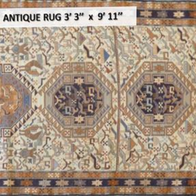 Persian Hand knotted Antique Moghan Wool & Silk Rug/ Kilim  3'3