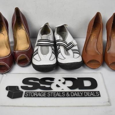 3 pairs of Women's Shoes size 7: 2 pairs heels & B&W Pr!vo