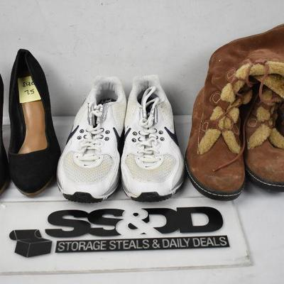 3 pairs of Women's Shoes size 7.5: Black Heels, White/Navy Nikes & Brown Boots