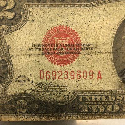 Lot #1 1928 Red Seal Two $2 Dollar Bill