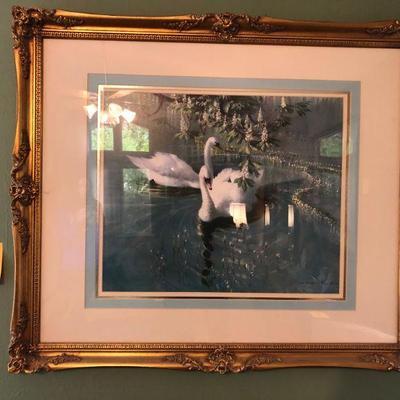 Lot 1 Ornate Framed Swan Print