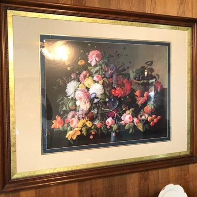 Lot 4 XL Framed Floral Print