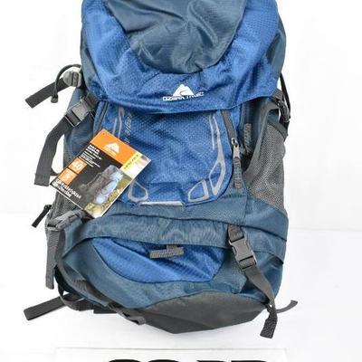Ozark Trail Hiking Backpack Eagle, 40L Capacity, Blue, $30 Retail - New