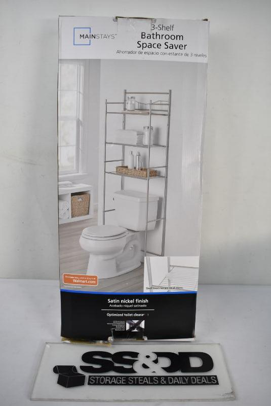 Mainstays 3 Shelf Over The Toilet Space Saver Satin Nickel 20 Retail New Estatesales Org