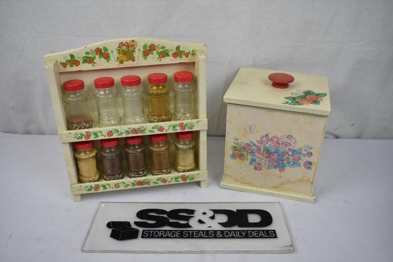 2 Pc Vintage Strawberry Shortcake Kitchen Spice Rack Storage Box Estatesales Org