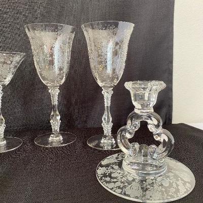 Crystal Fostoria -  Etched Glass  12 Piece Set