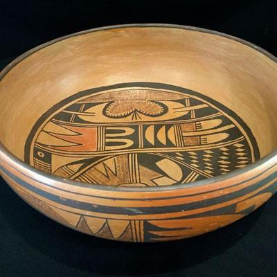 Vintage Hand painted Hopi bowl signed S.E.C Circa 1950-1970 Native American Pottery