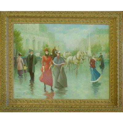 This French oil painting by Bonnard 41″ X 34″  (1954). This Spanish traditional oil painting is a one of the kind hand painting on...