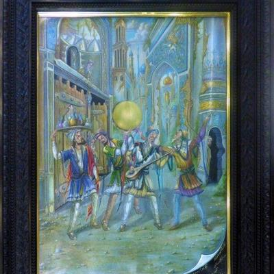 Exceptional Persian Miniature Painting 100% Handmade. This painting is made in the city of Isfahan over 60 years ago. Artist (signed by...