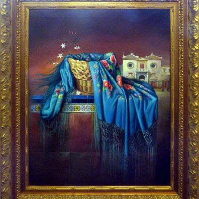 Spanish Andalucia oil Painting, by G. Sollero from Sevilla (1984). This Spanish traditional oil painting is a one of the kind hand...